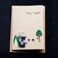 New Home - small black house - Handcrafted New Home Card - dr18-0022