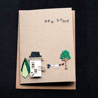 New Home - small cream house - Handcrafted New Home Card - dr18-0023