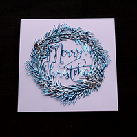 Ice Blue Christmas Wreath - Handcrafted Christmas Card - dr18-0026