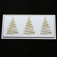 Three Gold Trees - handcrafted Christmas card - dr18-0030