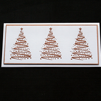 Three Copper Trees - Handcrafted Christmas Card - dr18-0031
