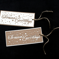 Seasons Greetings Tags - 2pack - Handcrafted Christmas Tags - dr18-0035