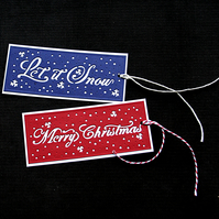 Festive Greeting Tags - 2pack - Handcrafted Christmas Tags - dr18-0036