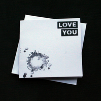Monochrome Words Love You - Handcrafted (blank) Card - dr18-0044