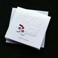 Snowy Mittens - Handcrafted Christmas Card - dr18-0040