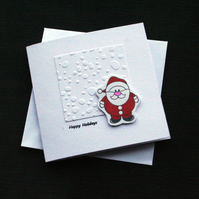 Holiday Santa - Handcrafted Christmas Card - dr18-0042