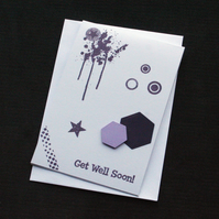 Purple Get Well Hexagons - Handcrafted Get Well Soon Card - dr18-0037
