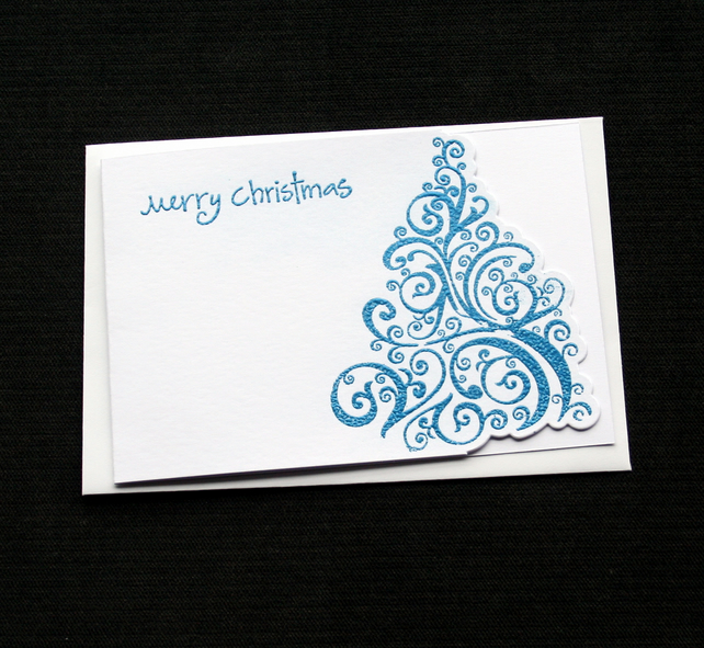 Merry Christmas Tree - Blue - Handcrafted Christmas Card - dr18-0057