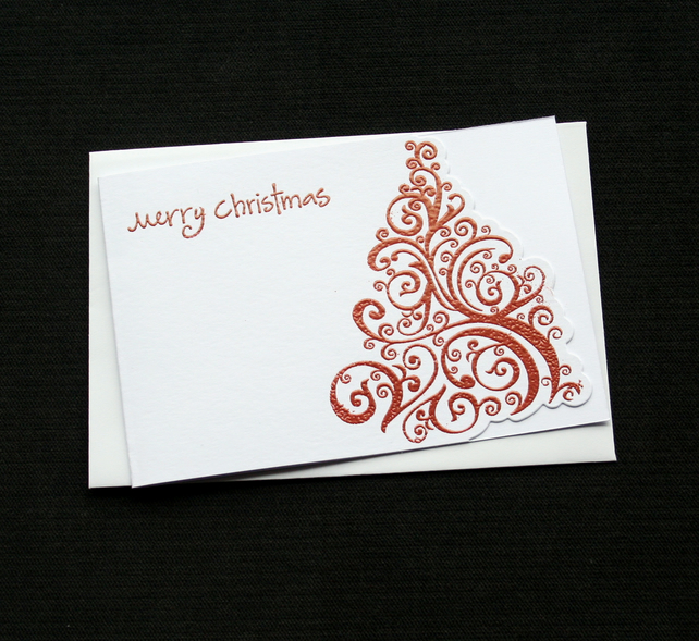 Merry Christmas Tree - Red - Handcrafted Christmas Card - dr18-0054