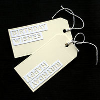 Birthday Words - set of 2 - Handcrafted Birthday Gift Tags - dr18-0075