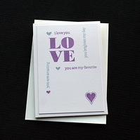 Words of Love - Handcrafted Anniversary or Valentines Card - dr19-0001