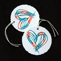 Scribble Heart Tags (round) - set of 2 - Handcrafted Gift Tags - dr18-0064