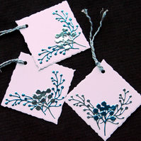 Trio of Christmas Sprigs tags - Handcrafted Christmas Gift Tags - dr18-0069