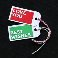 Love You & Best Wishes - set of 2 - Handcrafted Gift Tags - dr18-0071
