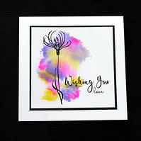 Wishing You Love Flower Cloud - Handcrafted (blank) Card - dr19-0040