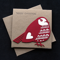 Red Robin - Handcrafted Christmas Card - dr19-0050