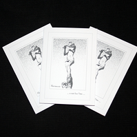 A Note Frome Peter (mono) - Handcrafted Notecards - pack of3 - dr19-0046