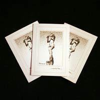 A Note from Peter (sepia on cream) - Handcrafted Notecards - pack of3 - dr19-004