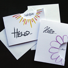 Hello Flower and Hello Sunshine - Handcrafted (blank) Cards pk of2 - dr20-0016