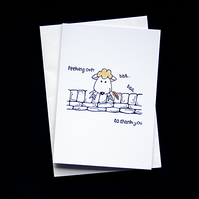 Peeking Over Sheep - Habndcrafted Thank You Card - dr16-0062