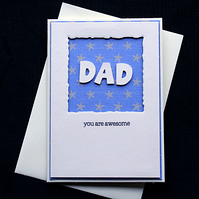 Awesome Dad (Stars) - Handcrafted Fathers Day Card - dr17-0021