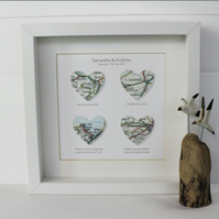 Handmade Map Hearts Framed Picture