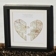 Handmade Personalised Map Heart Jigsaw Picture