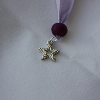 Detailed Fine Silver (999) Star Pendant On a Purple Ribbon Necklace