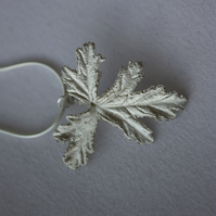 Fine Silver (.999) Geranium Leaf Pendant on Sterling Silver (.925) Snake Chain