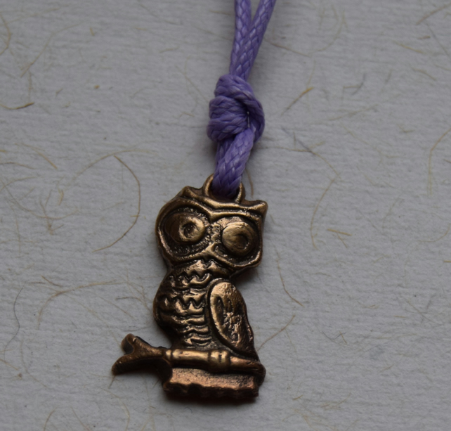 Owl Pendant in Copper on a Purple Cord Necklace