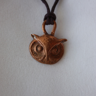 Owl Face Pendant in Copper