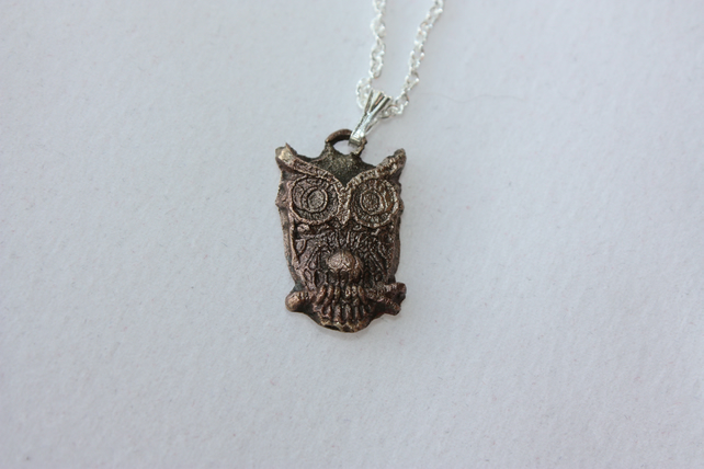 "Owl Pendant in Bronze with 20"" Sterling Silver Chain"