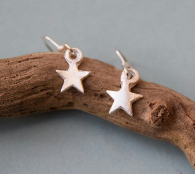 Handmade Fine Silver (999) Star Drop Earrings