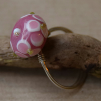 Pink Floral Glass and Sterling Silver Ring