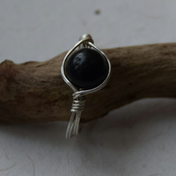 Black Onyx Stone and Sterling Silver Ring