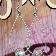 Sterling Silver and Glass Teardrop Earrings in Pink and White