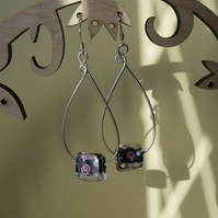 Sterling Siver Teardrop Earrings with a Black and Pink Glass Bead