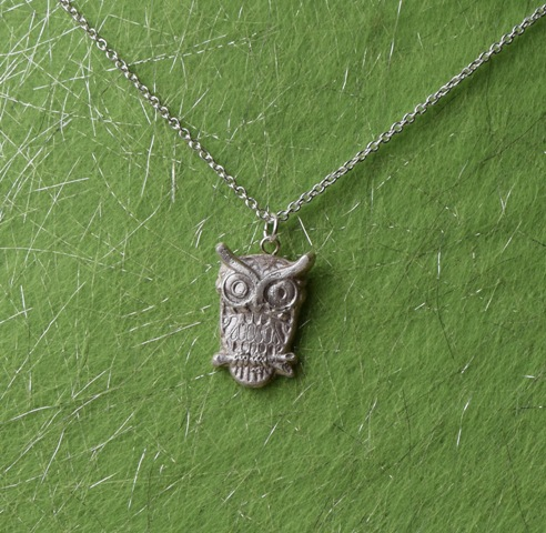 Owl Pendant in Fine Silver with Sterling Silver Chain