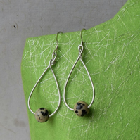 Dalmatian Stone and Sterling Silver Teardrop Earrings