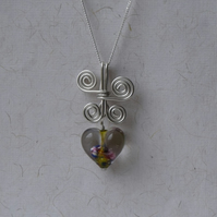 Butterfly and Heart Pendant in Glass and Sterling Silver with a 925 Chain