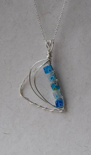Blue Mix Glass Bead and Sterling Silver Pendant with Chain