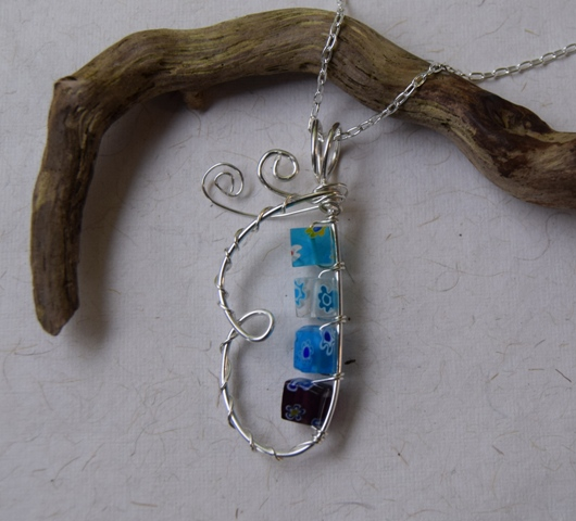 Butterfly Pendant in Sterling Silver and Glass (blue mix) with Chain