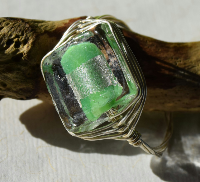 Green Glass and Sterling Silver Herringbone Ring