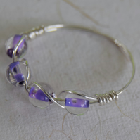 Purple Glass And Sterling Silver Ring