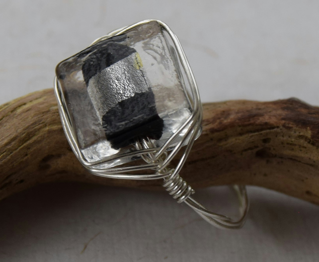 Black and Silver Glass Bead Ring