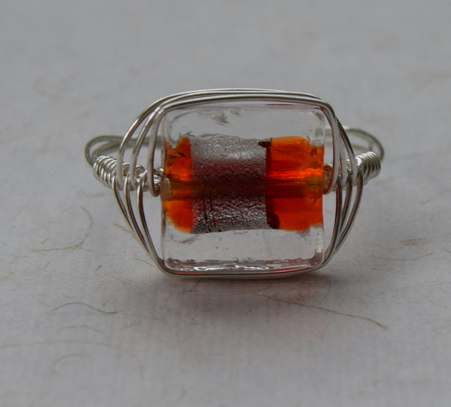 Burnt Orange Glass and Sterling Silver Ring