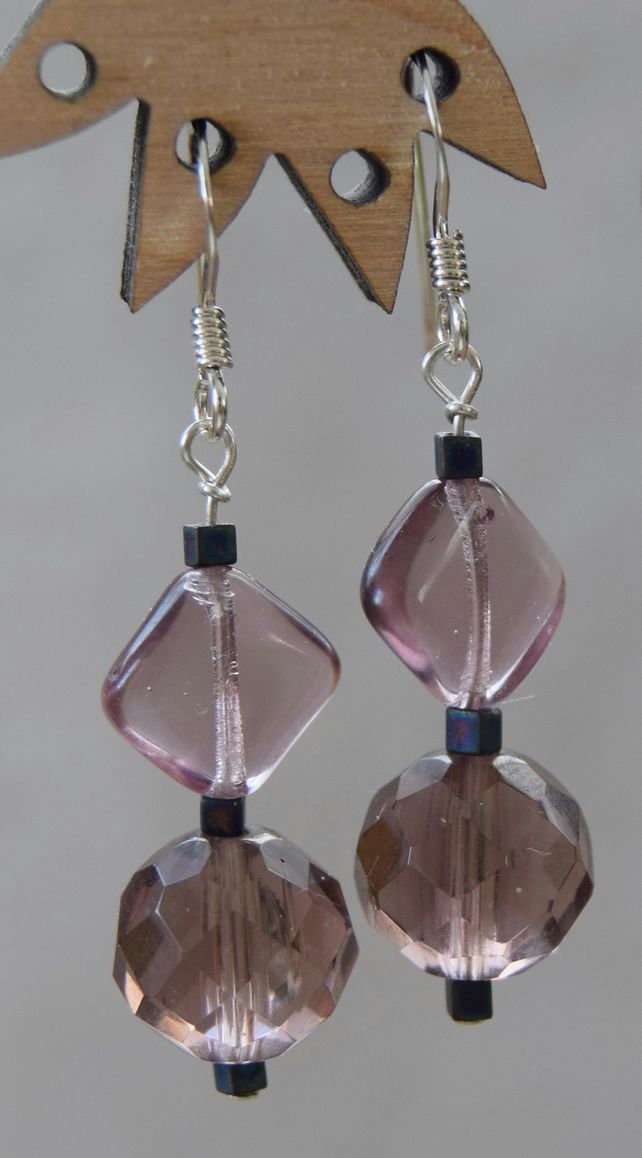 Purple Glass and Sterling Silver Drop Earrings