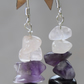 Sterling Silver Drop Earrings with Amethyst, Haematite and Quartz