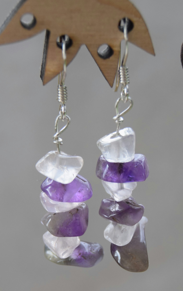 Amethyst and Quartz Sterling Silver Earrings