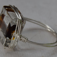 Sterling Silver and Glass Bead Herringbone Ring in Brown and Silver